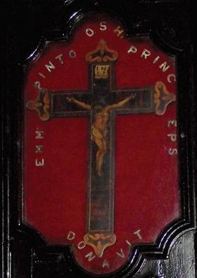 An inlaid wooden crucifix donated by Grand Master Emmanuel Pinto the confraternity.