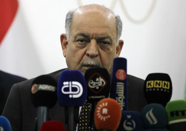 Iraq's Oil Minister Thamer al-Ghadhban gives a press conference at the ministry's headquarters in the capital Baghdad.