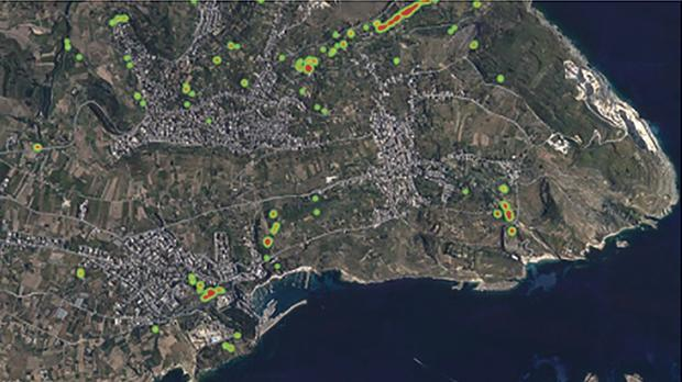Vegetation in Gozo; data displayed for vegetation in mid-January 2016 and compared to mid-August 2016. Vegetation Index scale is shown at 0.6-0.7. Data taken from Sentinel 2 Satellite and plotted on a Google map.