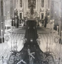 A symbolic catafalque in honour of Pope Pius XII at St George's basilica, Gozo, set up for a funeral Mass that was said on October 12, 1958.