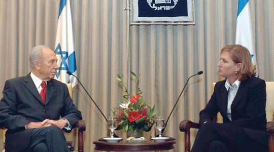 Israel's Foreign Minister Tzipi Livni with President Shimon Peres in Jerusalem.