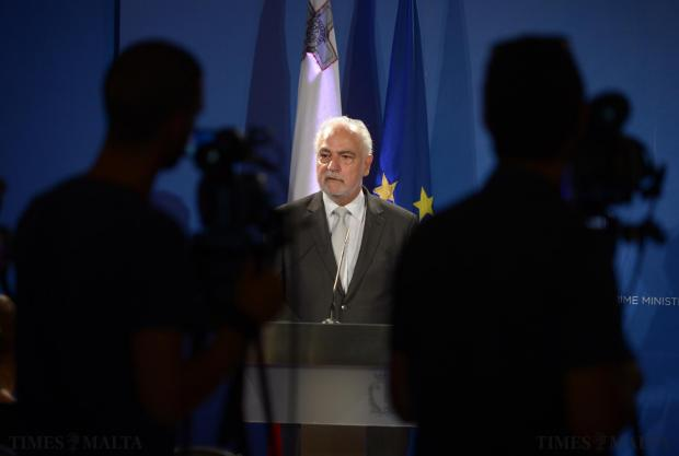 Deputy Prime Minister Louis Grech addresses members of the press at the Auberge d'aragon in Valletta on September 4. Photo: Matthew Mirabelli