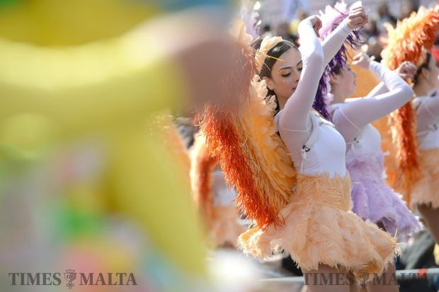Carnival dancers take to the stage in St George's Square, Valletta on February 27. Photo: Matthew Mirabelli