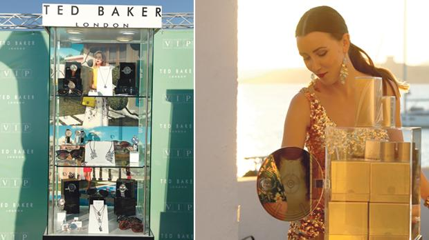 Stylish Ted Baker wares on the beach. Right: Ladies received Lady Million shower gel by Paco Rabanne.