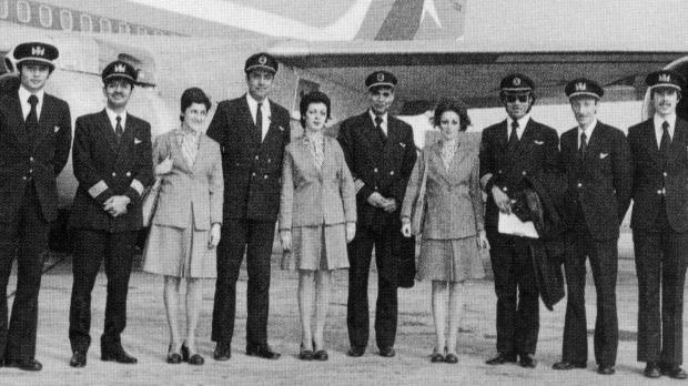 The crew of Air Malta's first flight.