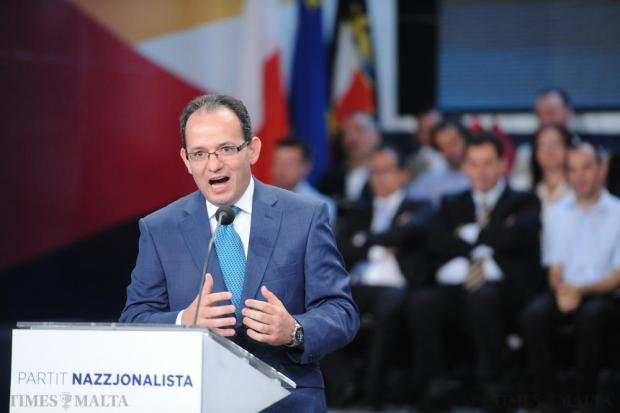 Chris Said addresses the PN general council for the last time as general secretary on May 24. Photo: Jason Borg