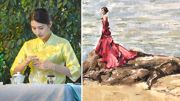 The Tea Ceremony, Lucienne Spiteri. Right: Lady in Red, Debbie Bonello.