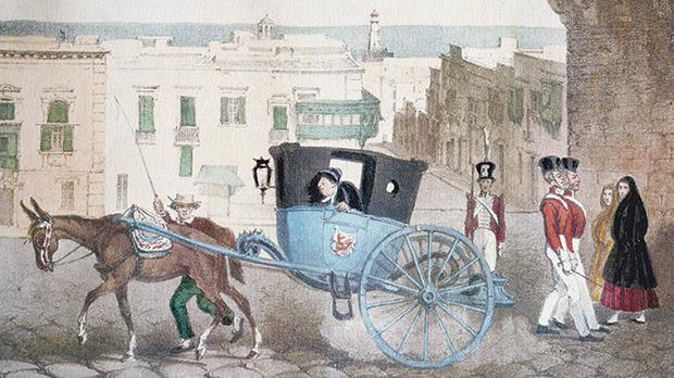 A watercolour of St George's Square, Valletta, by Goupil Fesquet who photographed Malta with Horace Vernet.