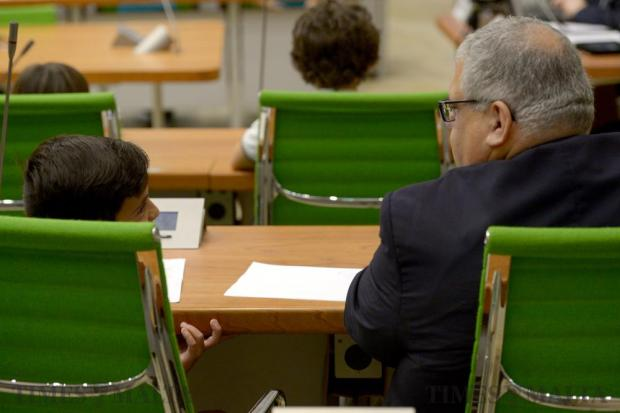 Nationalist MP George Pullicino speaks with an EkoSkola student at the opening of a special sitting in Parliament to debate a motion moved by the students urging their older peers to take action on climate change on June 2. Photo: Matthew Mirabelli