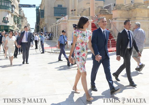 Opposition leader Simon Busuttil and his partner Kristina make their way to the opening of Malta's 13th Parliament on June 24. Photo: Matthew Mirabelli