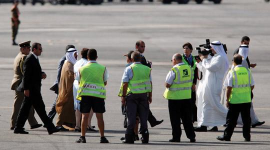 The Kuwaiti Prime Minister, Sheikh Nasser Mohammed Al-Ahmed Al-Sabah (third from left), on his arrival at Malta International Airport, yesterday. Photo: Darrin Zammit Lupi