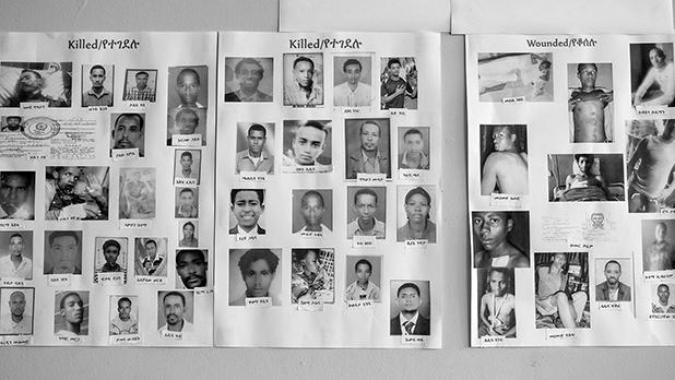Portraits at the Human Rights Council (HRCO) office of the people who were killed or wounded by the authorities in Ethiopia. Photo: Enri Canaj