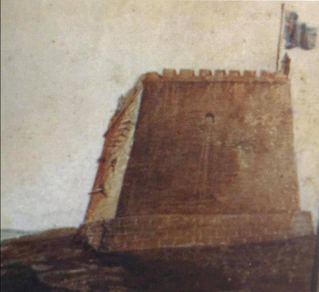 Detail from a 19th century painting of Garzes Tower by Salvatore Busuttil (from Stephen Spiteri's 2002 work).