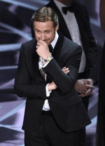 Gosling had to stifle a giggle as chaos unfolded around him. Photo: Twitter