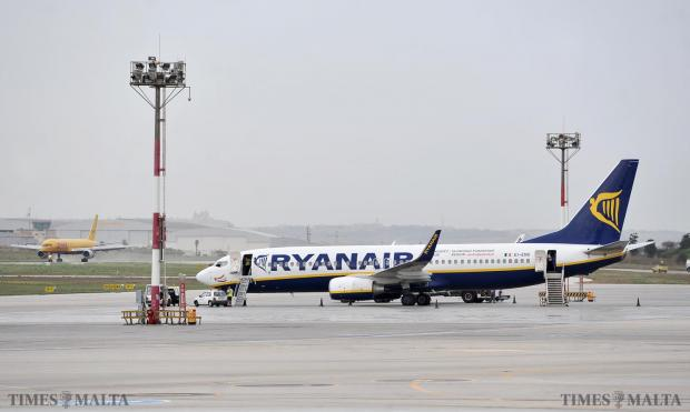 A Ryanair Boeing 737 sits on the ramp at the Malta International Airport after it had to turn back to pick up 3 passengers who went to the wrong plane on September 9. Photo: Chris Sant Fournier