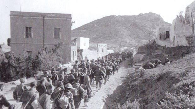British prisoners-of-war being marched towards Santa Marina.