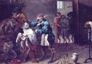 The Cat's Barber Shop, in the style of David Teniers. Courtesy of Palazzo Falson, Mdina