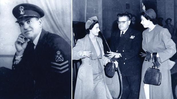 Petty Officer Joe Micallef, Royal Navy. Right: Joe Micallef with Queen Elizabeth and the late Princess Margaret at Villa Guardamangia.