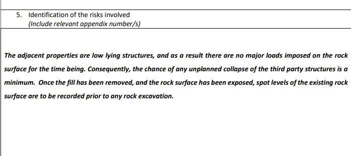 An excavation method statement for the project said there was 'minimum' risk to third party properties.
