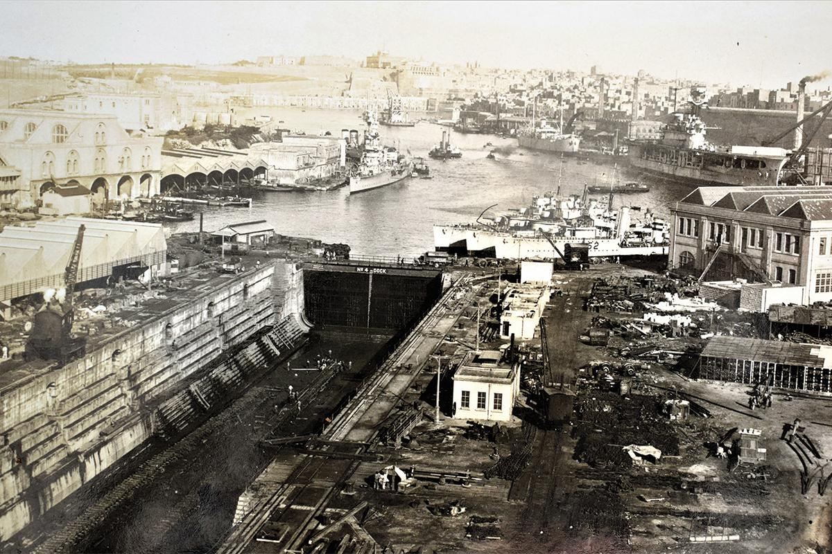 No. 4 Dock in the Naval Dockyard, 1930s.