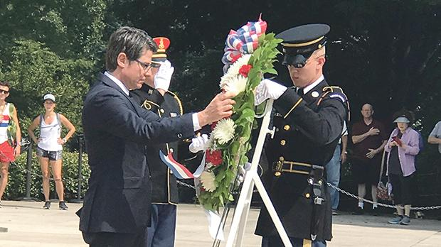 Pierre Clive Agius, the Ambassador of Malta to the US, laying a wreath at Arlington Cemetery.