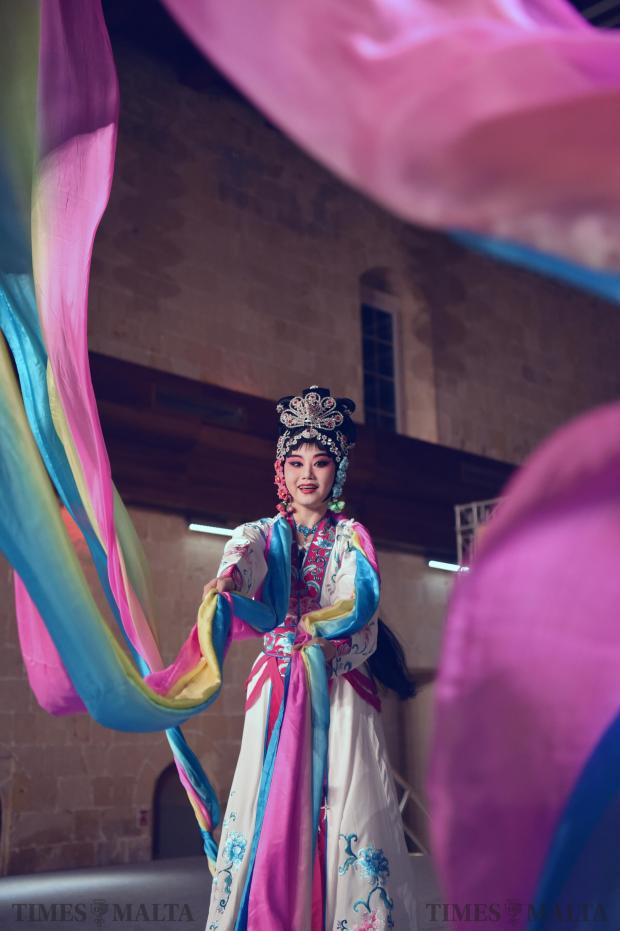 An actress from China's Zhejiang Wu Opera Troupe performs during the Chinese new year celebrations held in Valletta on February 13. Photo: Mark Zammit Cordina