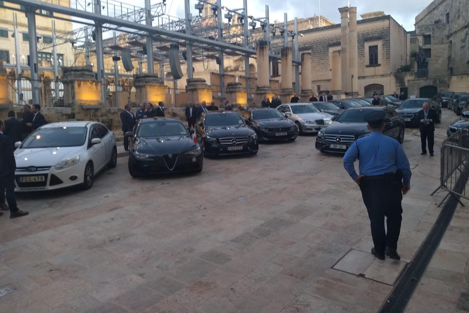 Cars lined up as parliament is in session. Photo: Jacob Borg