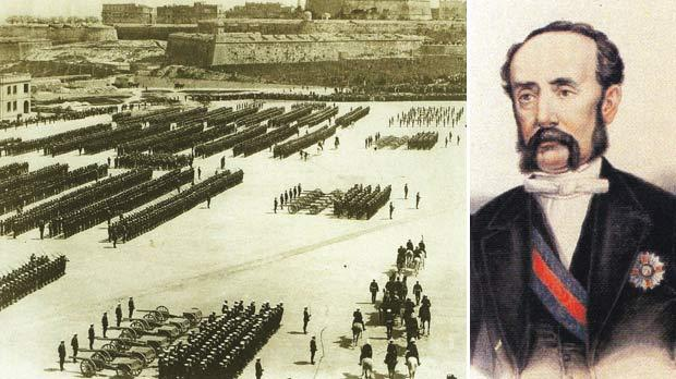 British troops in Malta increased the demand for prostitution. Right: Governor Sir Gaspard Le Marchant.