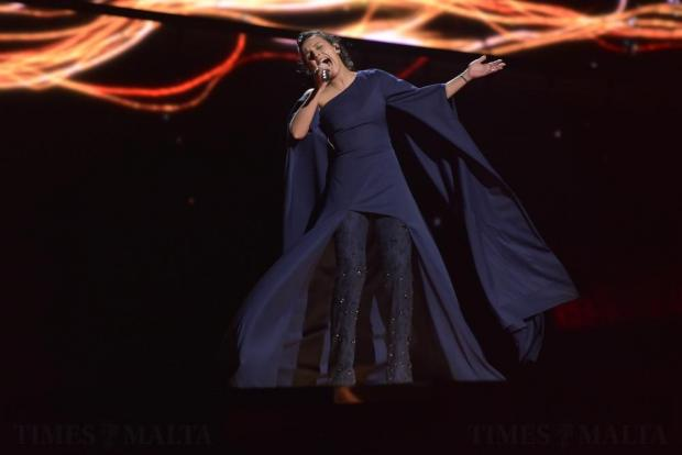 Eventual winner Jamala of Ukraine performs 1944 in the final dress rehearsal of the Eurovision Song Contest in Stockholm Sweden on May 13. Photo: Mark Zammit Cordina