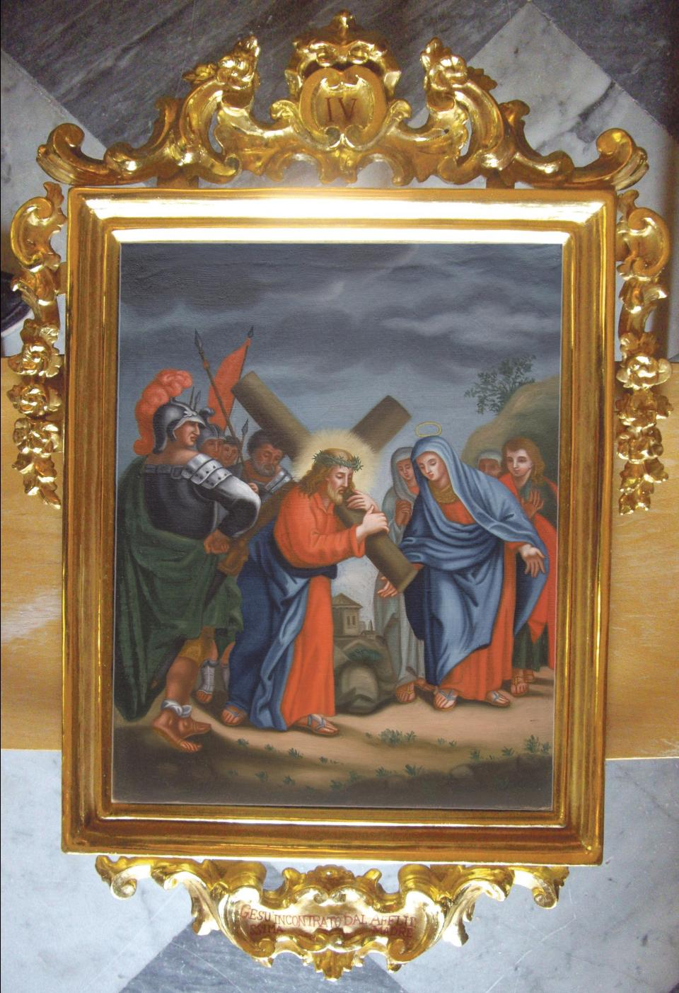 A fully-restored painting with its carved, gilded frame
