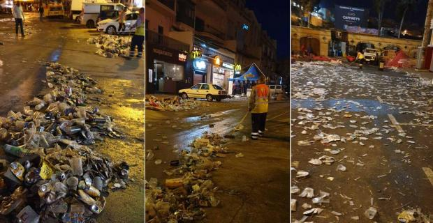 Tonnes of bottles, cans and other waste littering the street after St Patrick's Day celebrations in St Julian's. Photo: Cleansing Department.