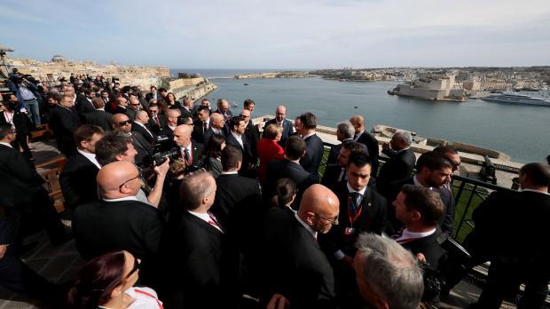 EU leaders enjoy the view of the Grand Harbour. Photo: DOI/Reuben Piscopo