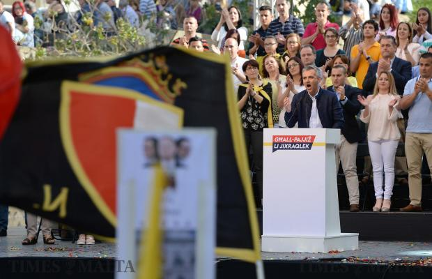Nationalist Party leader, Simon Busutill addresses the crowd during a mass meeting in Spinola Bay on May 1. Photo: Matthew Mirabelli