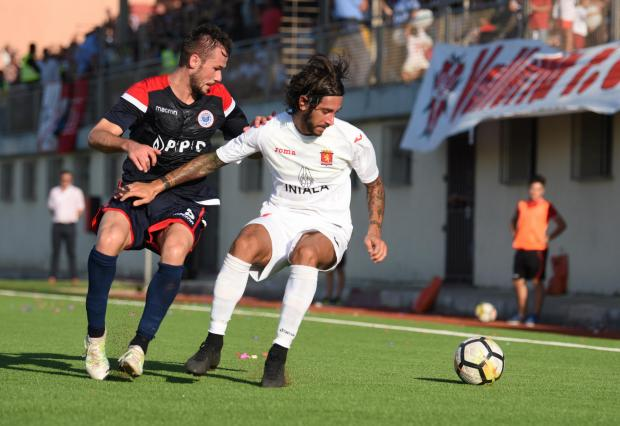 Matteo Piciollo (right) of Valletta tries to shield the ball from his opponent. Photo: Mark Zammit Cordina