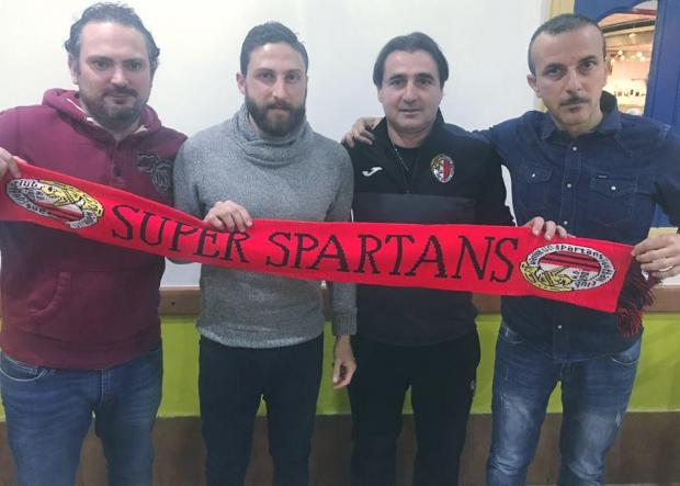 Andre Scicluna (second left) with Ħamrun president Nunzio Antignani, coach Giovanni Tedesco and team manager Gaetano Farrugio.