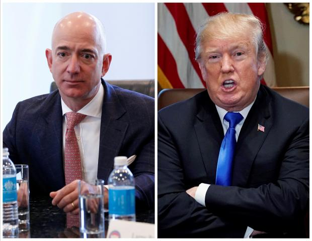 A combination photo of Amazon CEO Jeff Bezos and US President Donald Trump in New York and in Washington.
