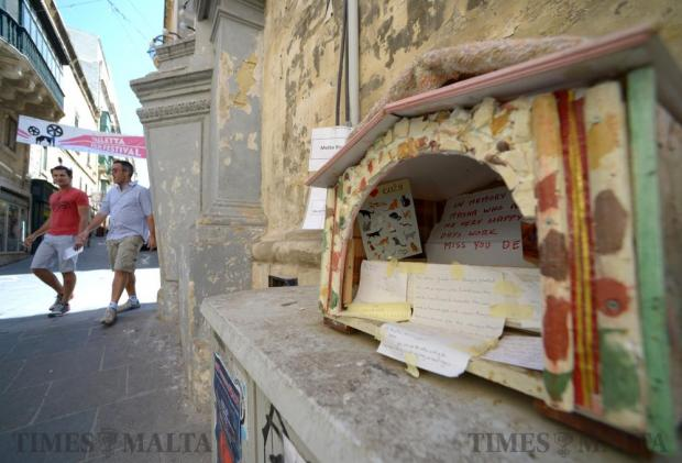 Messages are left in a makeshift cat shelter for the cat Masha on June 6. Masha was a local Valletta cat that had become part of the community and was put down by the Animal Welfare Department. Photo: Matthew Mirabelli