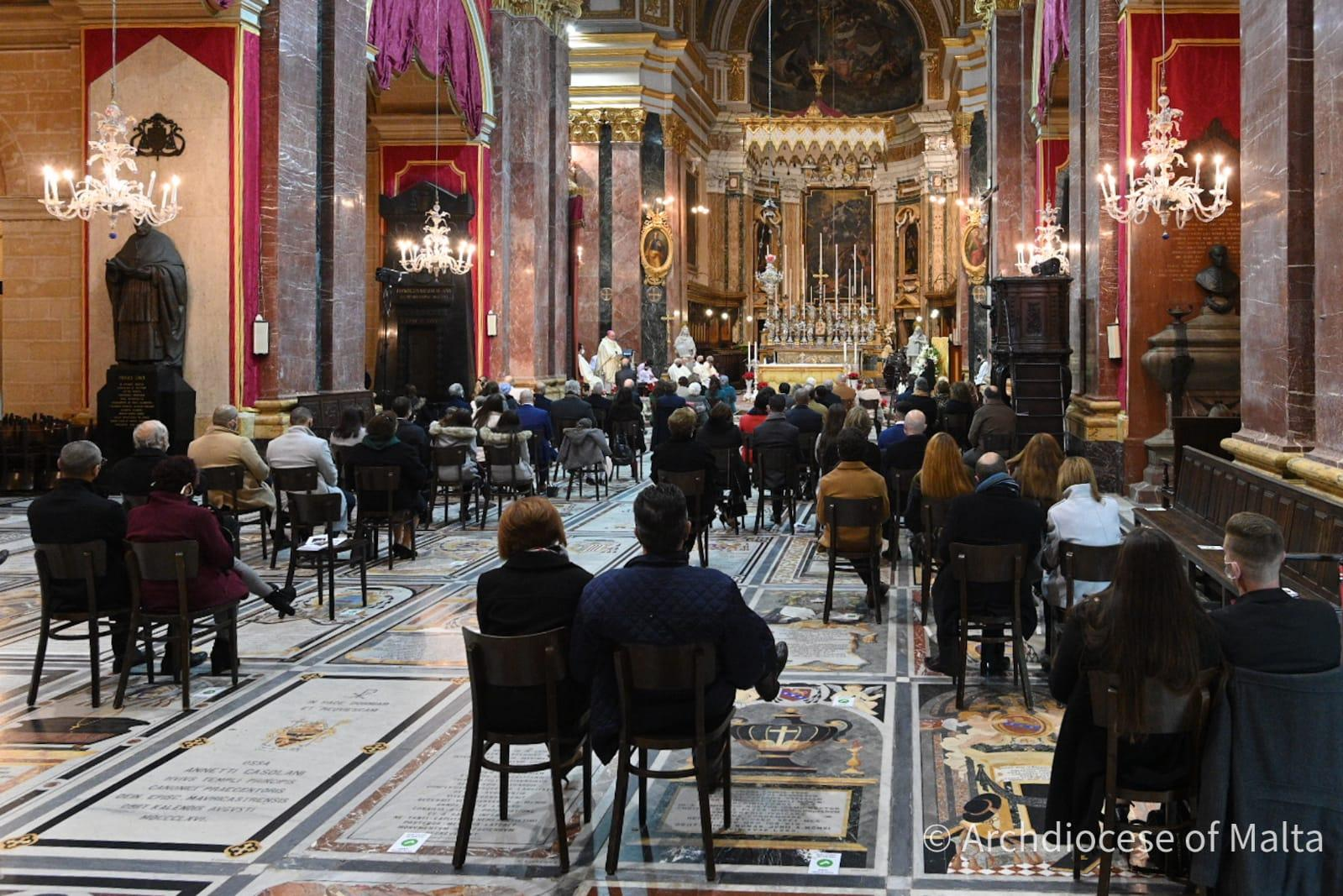 Churchgoers seated in respect of social distancing requirements at St Paul's Cathedral. Photo: Curia/Church.mt