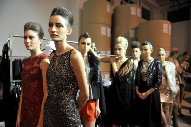 Models anxiously await their turn to take on the catwalk at the Pink fashion show on November 13. Photo: Chris Sant Fournier