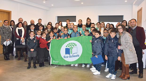 The Eco-Schools students at the Education Ministry building in Floriana.