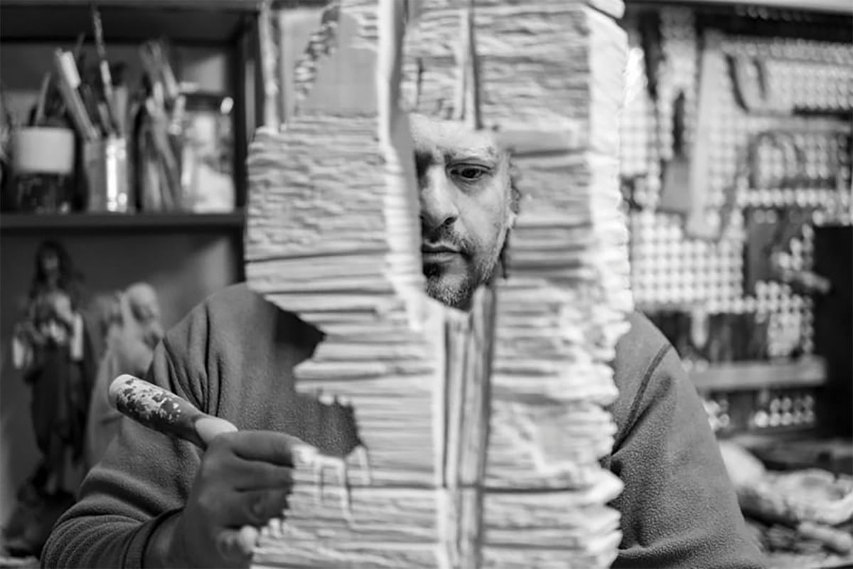 Antonio Mifsud working on a sculpture in limestone. Photo: Giuseppe Attard
