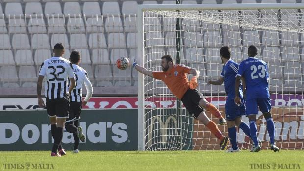 Mosta Goalkeeper Omar Borg makes a great save during their Premiership match against Hibernians at the National Stadium in Ta'Qali on January 17. Photo: Mark Zammit Cordina