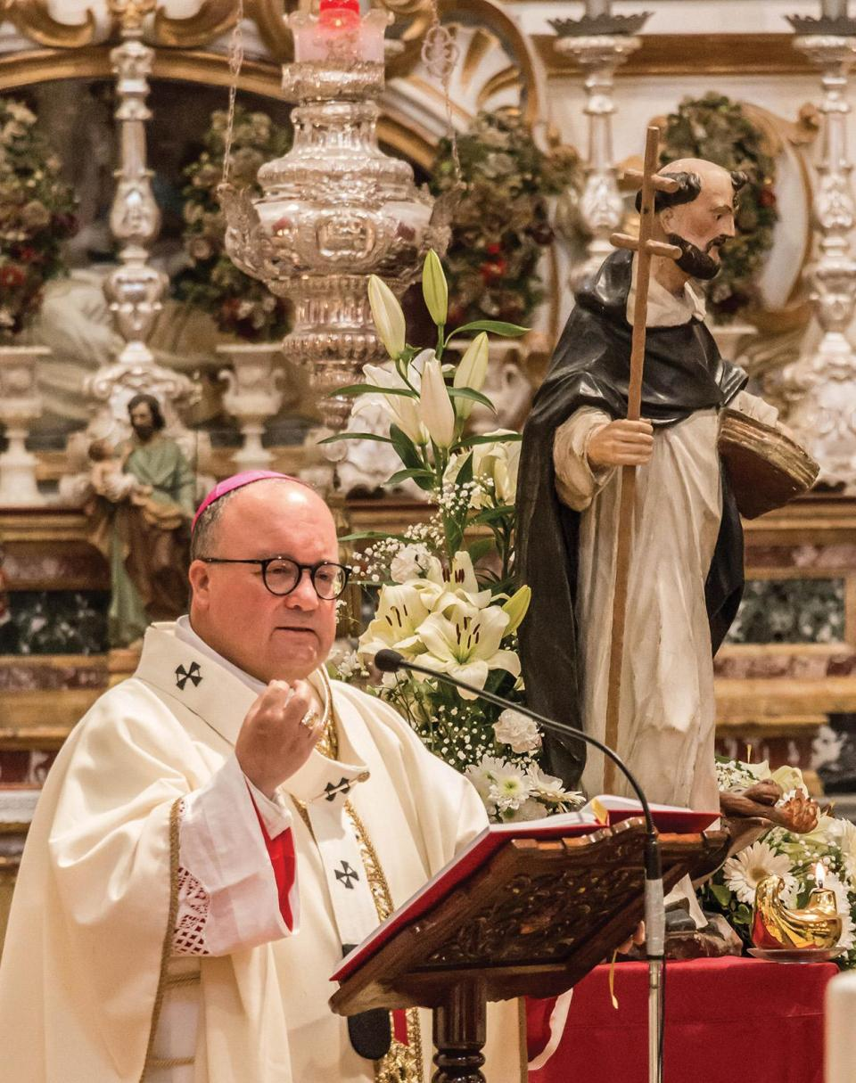 Archbishop Charles Scicluna during the Eucharistic celebration at Our Lady of the Grotto priory church in Rabat.