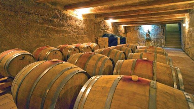 The cellar at San Niklaw estate.