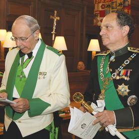 Grand Chancellor of the Order Ted White (left) and Don Carlos Gereda de Borbón during the investiture ceremony at St Paul's Pro-Cathedral, Valletta.