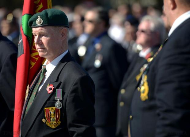 A war veteran participates in the annual Remembrance Day ceremony at the War Memorial in Floriana on November 8. Photo: Matthew Mirabelli