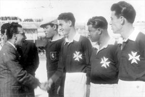 Government minister Dr Colombos greeting J. Camilleri, L. Borg, D. Edwards and F. Andolina before the MFA XI vs Vasas game on April 4, 1948.
