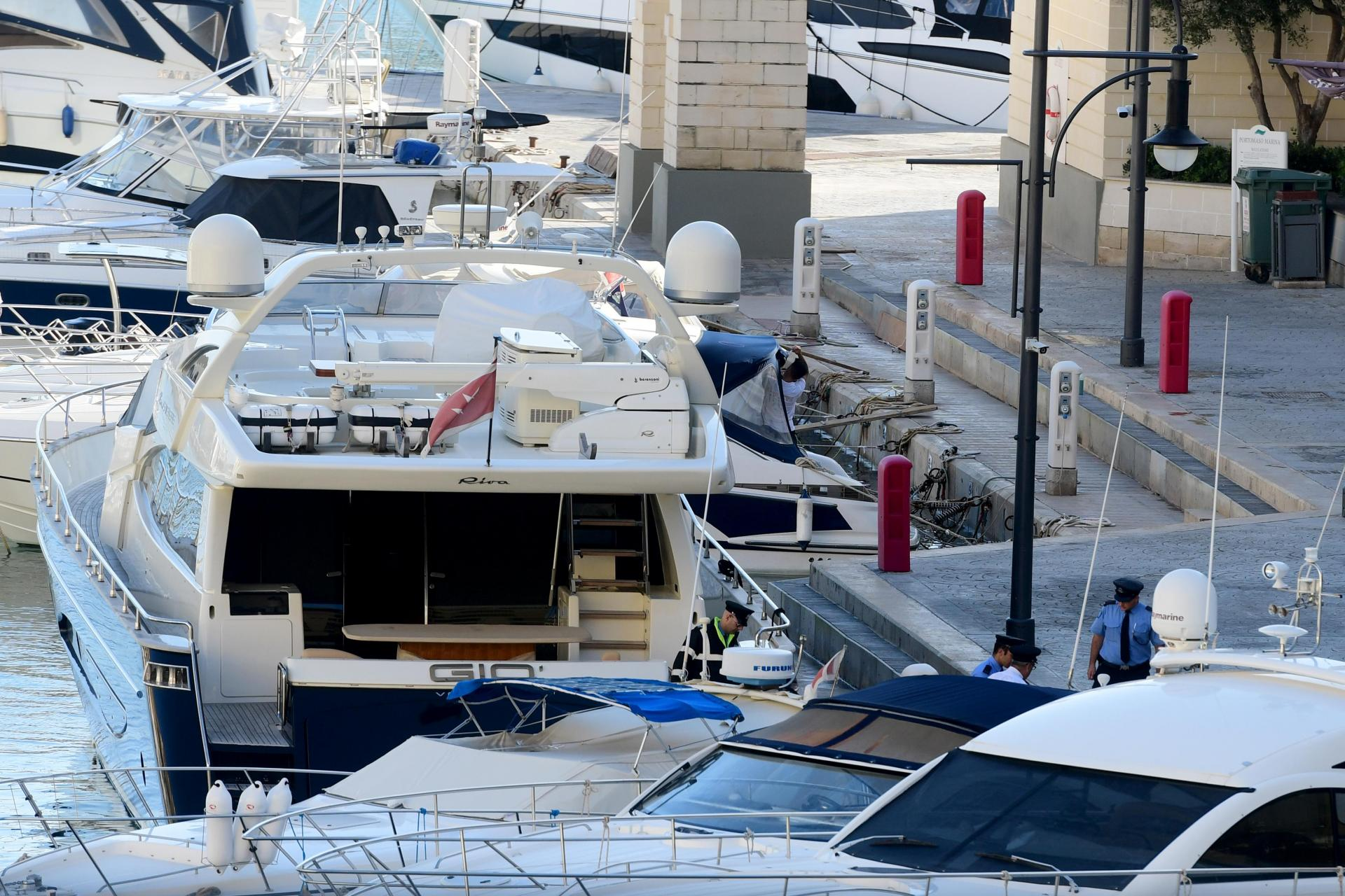 Yorgen Fenech was arrested on the yacht he shares with his family, the Gio on Wednesday. Photo: Jonathan Borg