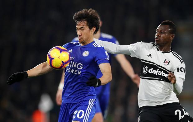 Leicester City's Shinji Okazaki in action with Fulham's Jean Michael Seri