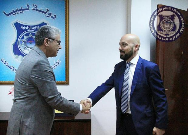 Mr Gafà being received by Libyan Interior Minister Commissioner Fathi Pasha.
